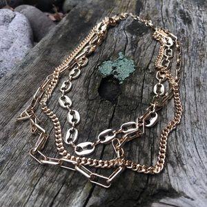3 chain gold choker
